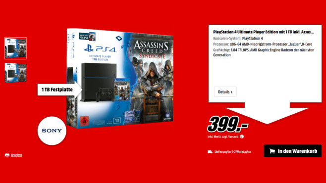 Sony PlayStation 4 1TB + Assassin's Creed: Syndicate + Watch Dogs ©Media Markt