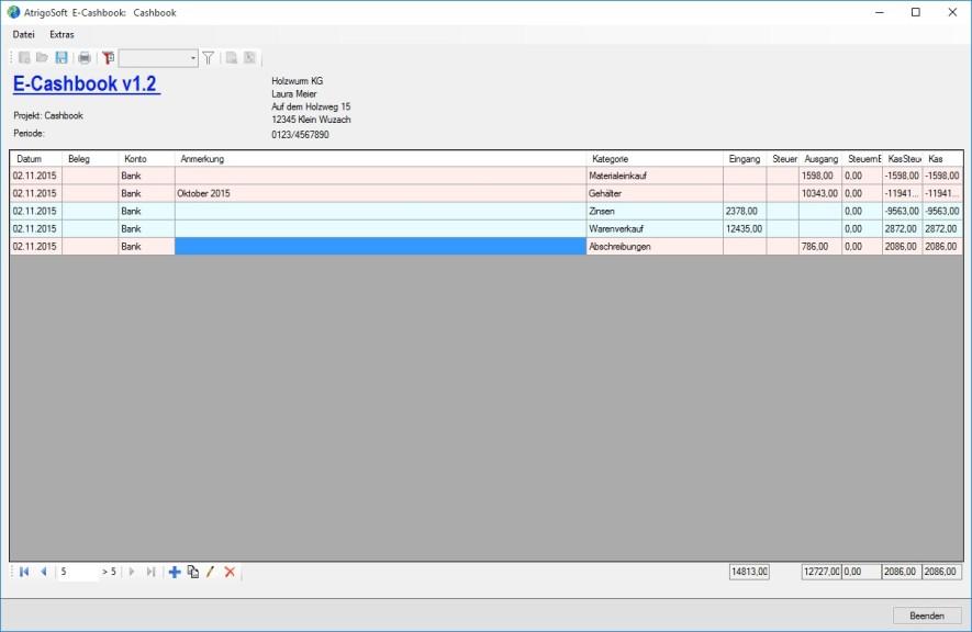 Screenshot 1 - E-Cashbook