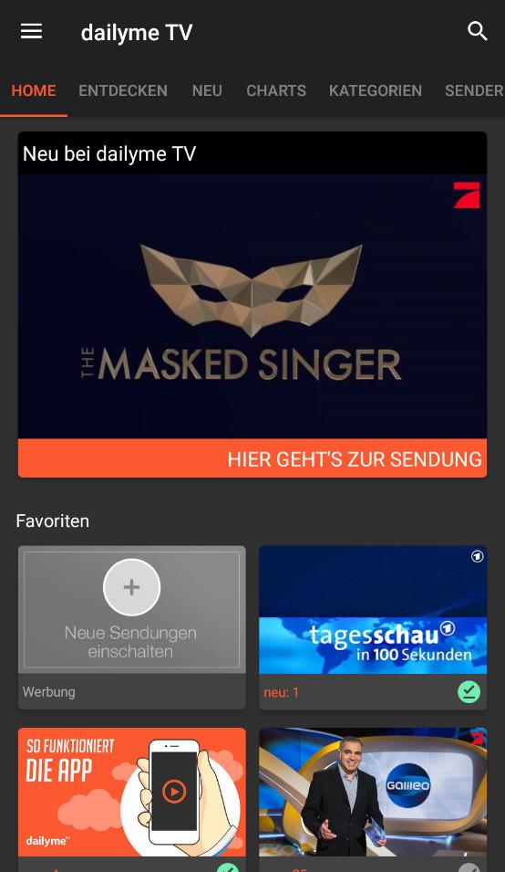 Screenshot 1 - Dailyme TV (Android-App)