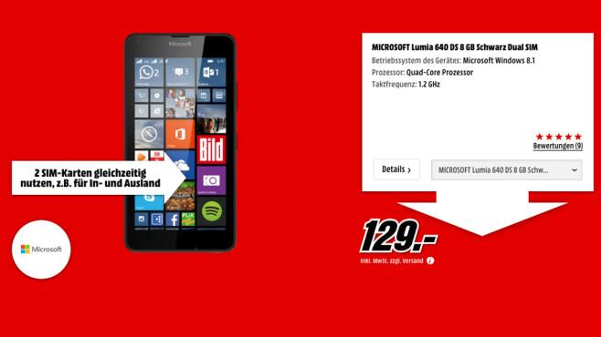 Microsoft Lumia 640 DS 8GB ©Media Markt