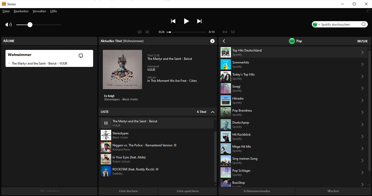 Screenshot 1 - Sonos S2 Desktop Controller