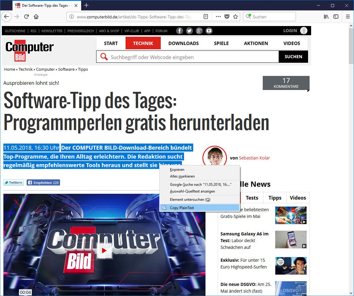 Screenshot 1 - Copy PlainText für Firefox