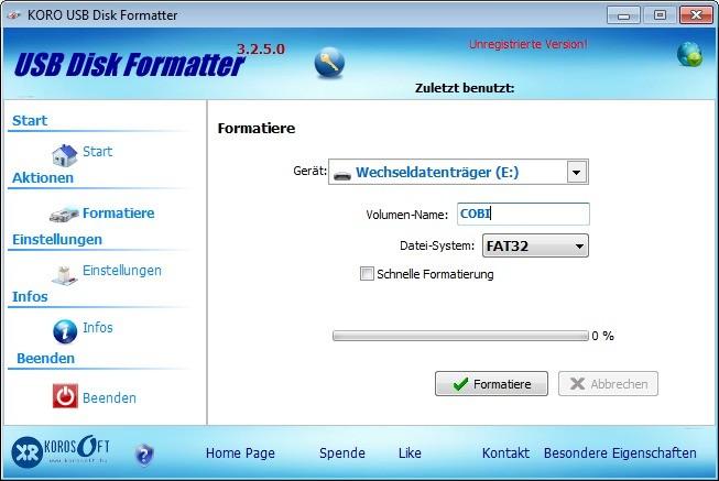 Screenshot 1 - KoRo USB Disk Formatter