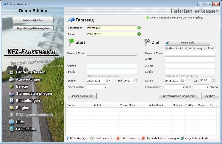 Screenshot 1 - KFZ-Fahrtenbuch