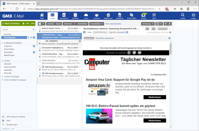 Screenshot 1 - GMX Mail