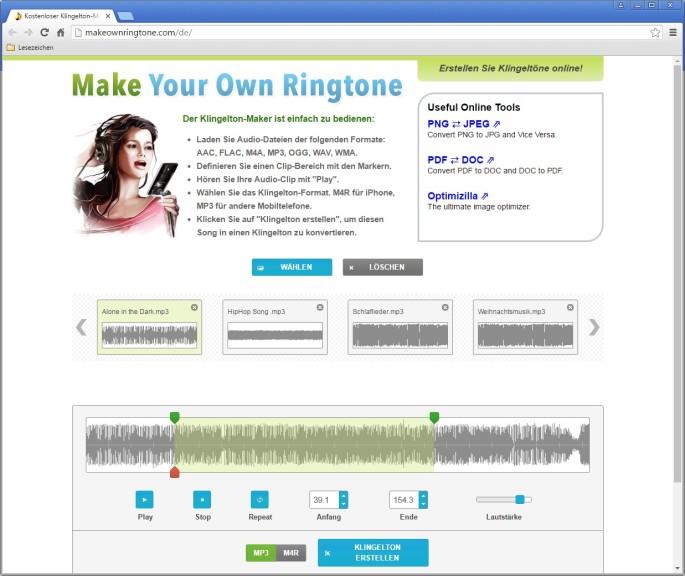 Screenshot 1 - Klingelton erstellen und konvertieren (Make Your Own Ringtone)
