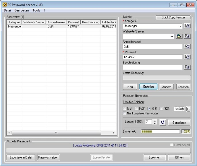 Screenshot 1 - PS Password Keeper