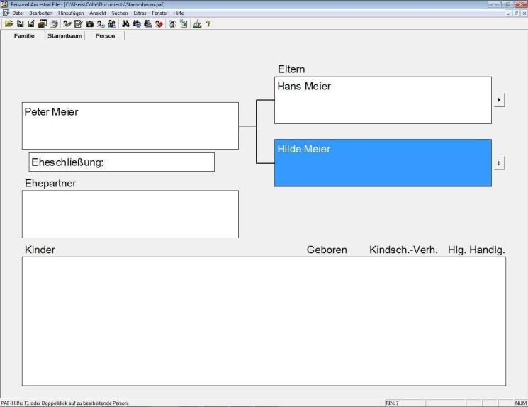 Screenshot 1 - Personal Ancestral File