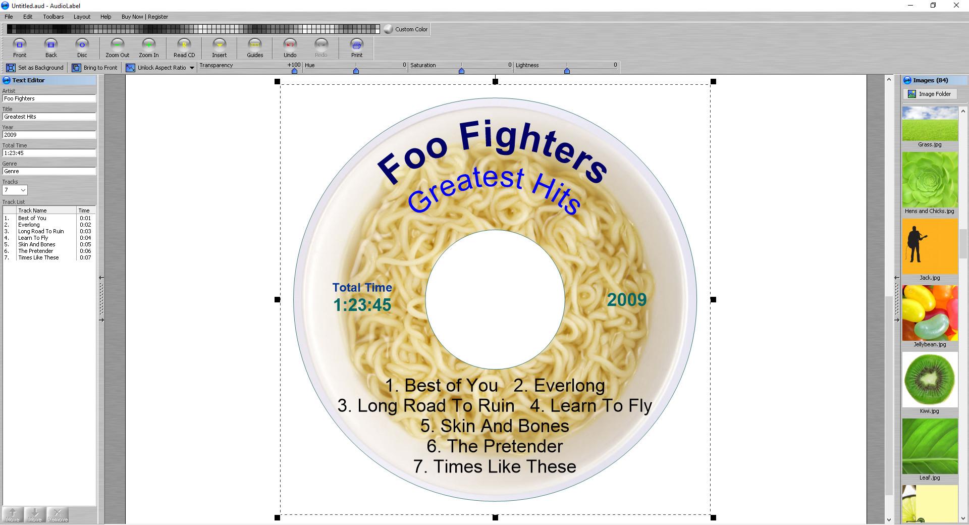 Screenshot 1 - AudioLabel CD/DVD Cover Maker