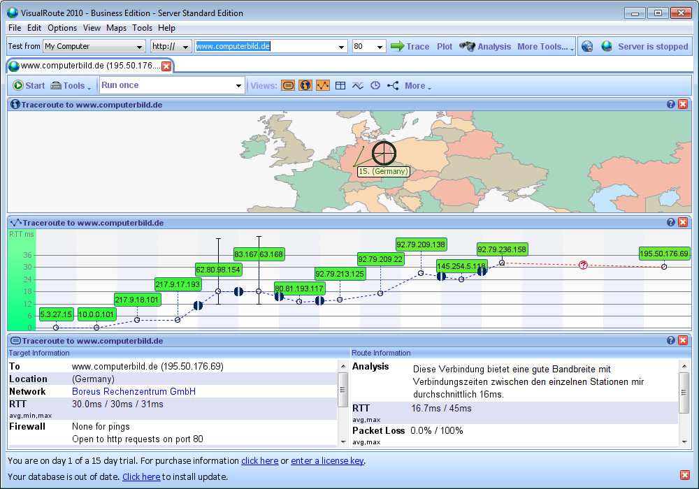 Screenshot 1 - VisualRoute
