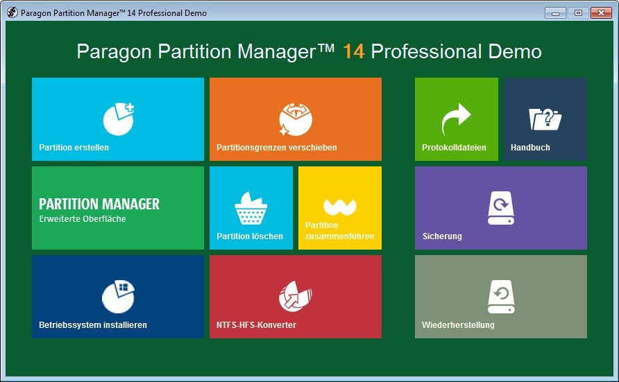 Screenshot 1 - Paragon Partition Manager Professional