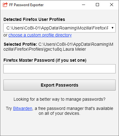 Screenshot 1 - FF Password Exporter für Firefox