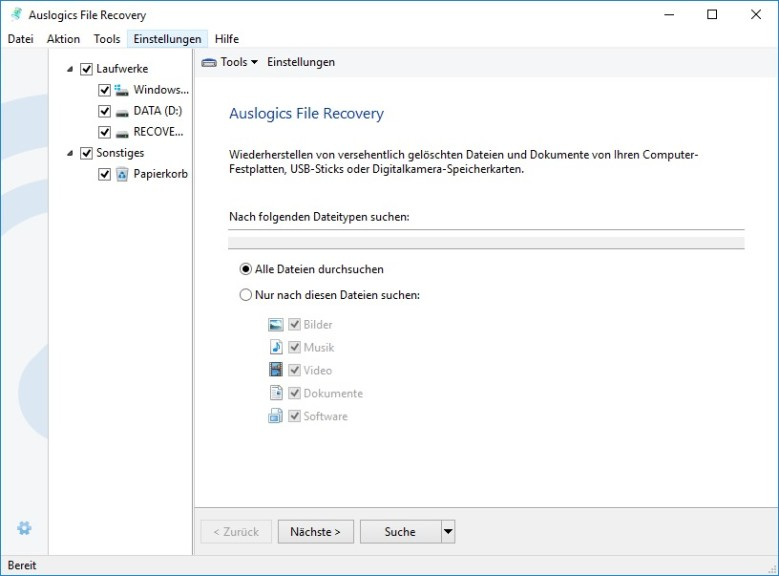 Screenshot 1 - Auslogics File Recovery