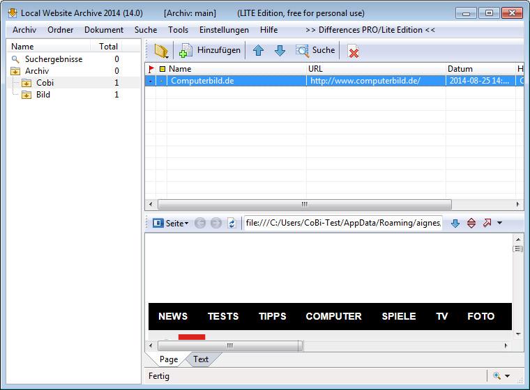 Screenshot 1 - Local Website Archive