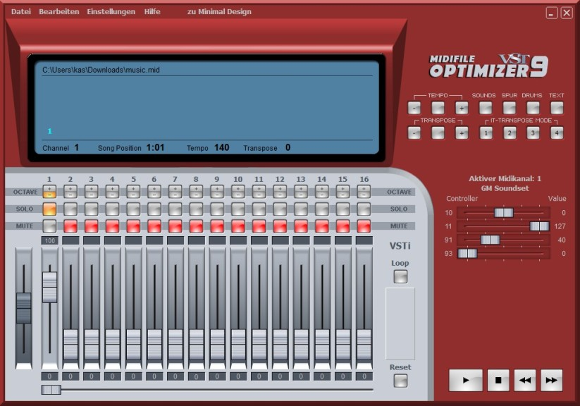 Screenshot 1 - Midifile Optimizer