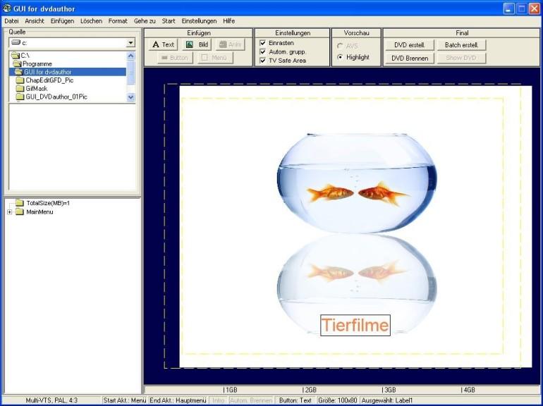 Screenshot 1 - GUI for dvdauthor