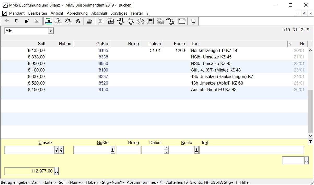 Screenshot 1 - MMS Buchführung und Bilanz