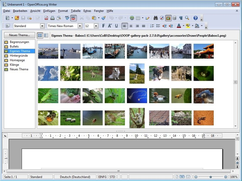 Screenshot 1 - OOOP-Gallery für OpenOffice.org
