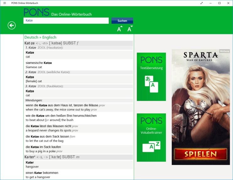 Screenshot 1 - Pons Online-Wörterbuch (Windows-10-App)