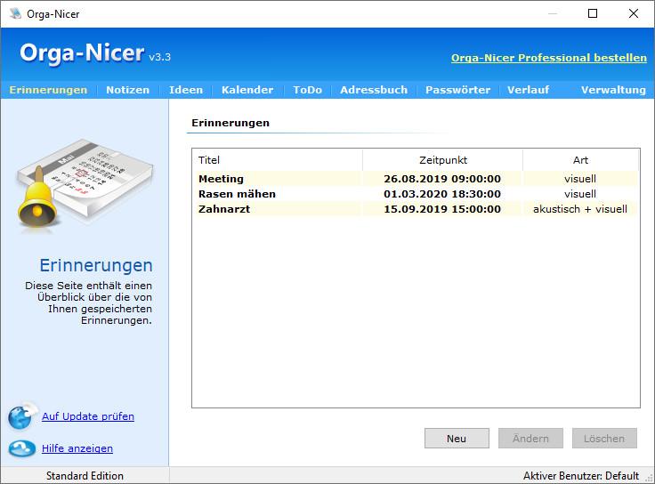 Screenshot 1 - Orga-Nicer
