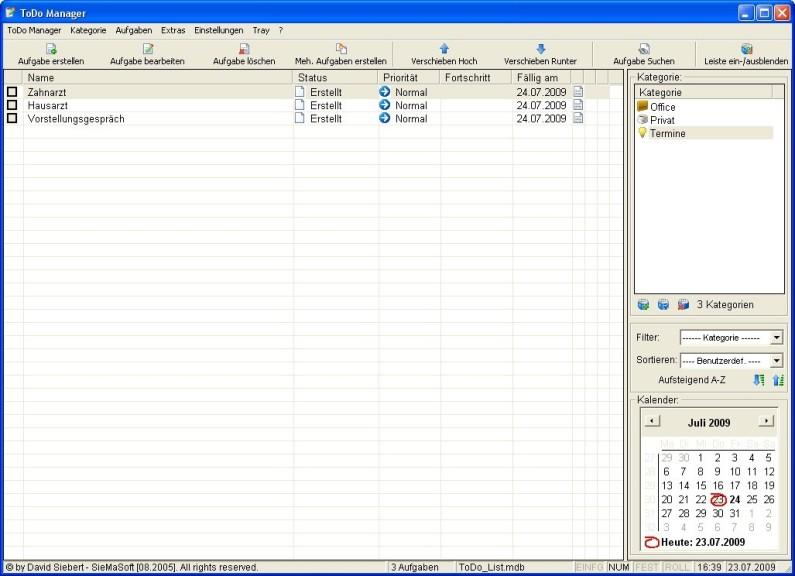 Screenshot 1 - ToDo Manager