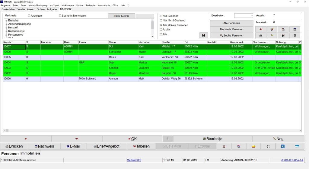 Screenshot 1 - Ammon Immobilienmakler-Software