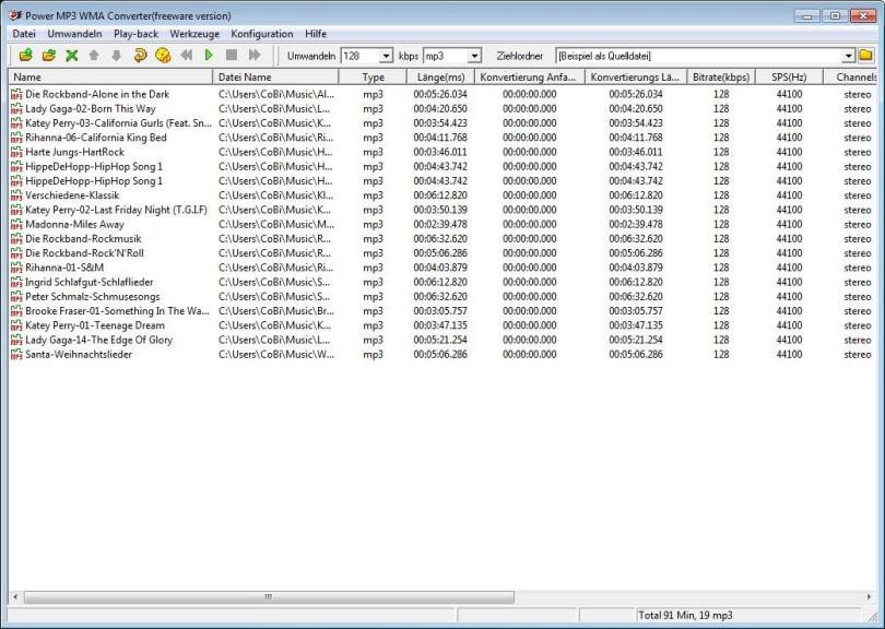 Screenshot 1 - Power MP3 WMA Converter