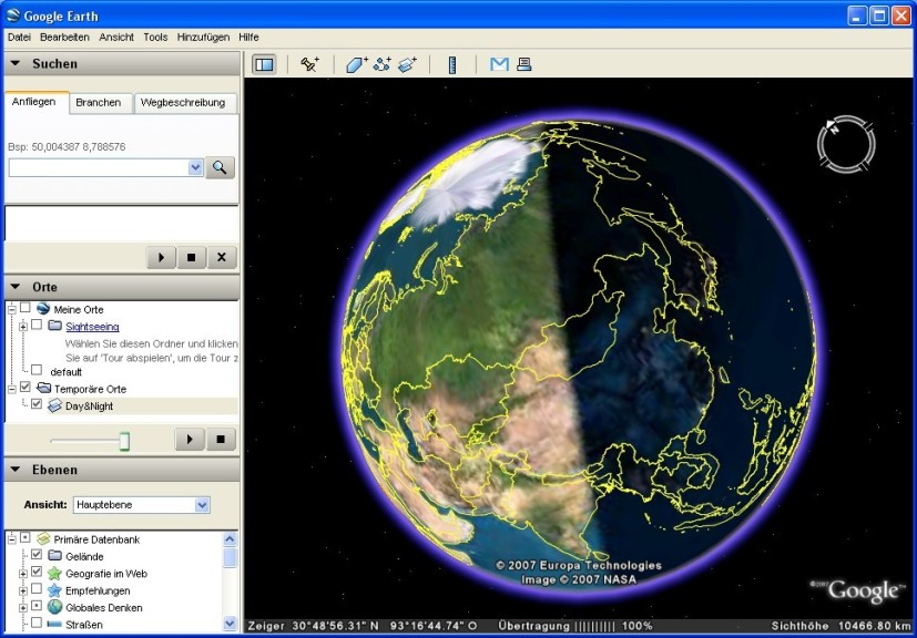 Screenshot 1 - Day and Night für Google Earth