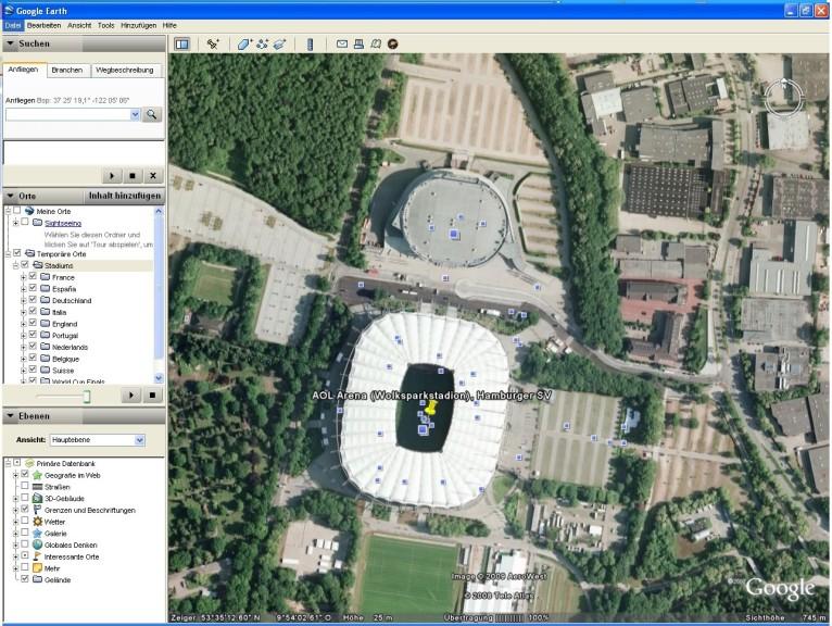 Screenshot 1 - Football stadiums around the world für Google Earth