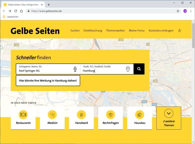 Screenshot 1 - Gelbe Seiten
