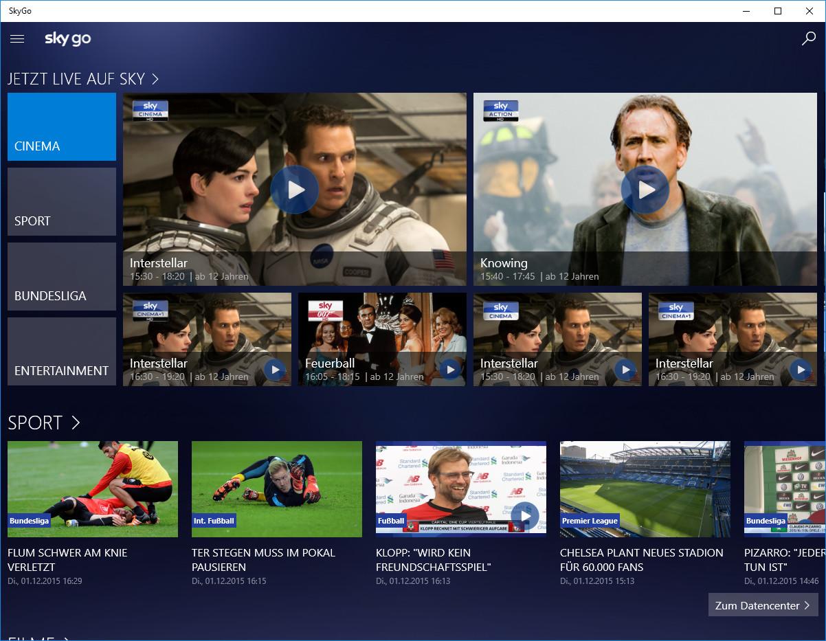 Screenshot 1 - Sky Go (Windows-10-App)