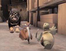 Ab durch die Hecke: Hammy und Verne auf der Flucht vor den Pranken eines fiesen Wachhundes. Sind sie schnell genug?