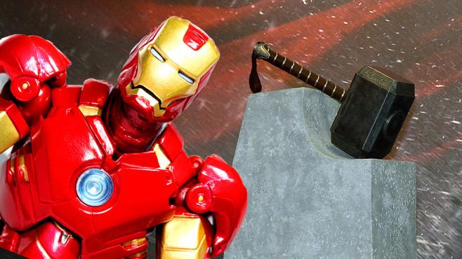 Iron Mans Handschuhe und Thors Hammer: Selbst gebaute Superhelden-Technik.©istock.com/Brendan Hunter, Ethan Miller/gettyimages