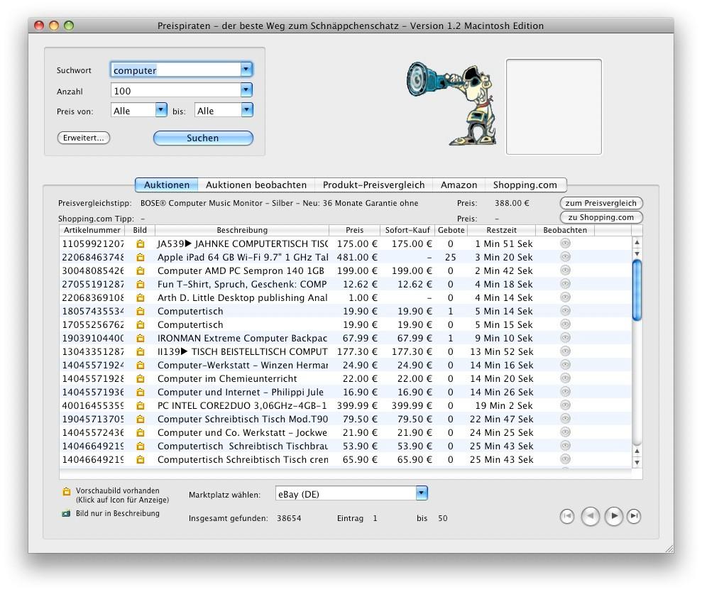 Screenshot 1 - Preispiraten (Mac)
