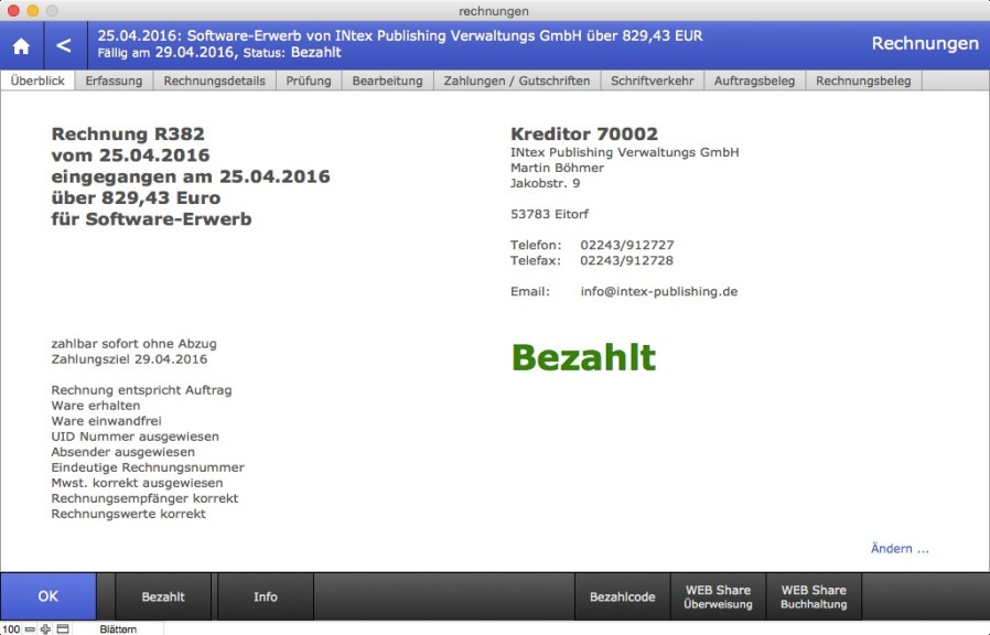 Screenshot 1 - INtex Rechnungseingang (Mac)