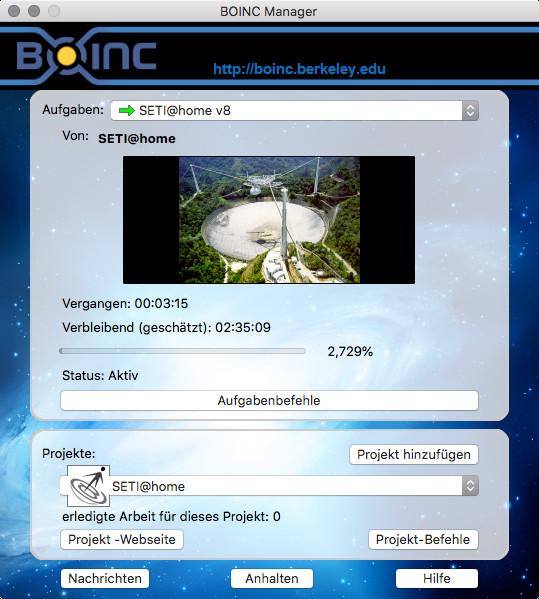 Screenshot 1 - BOINC (Mac)
