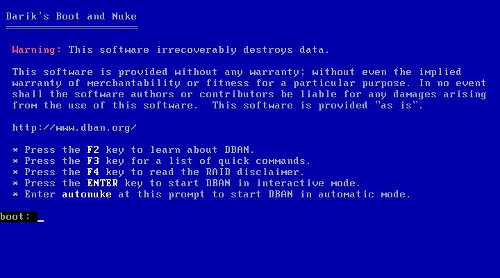 Screenshot 1 - DBAN (Darik's Boot and Nuke)