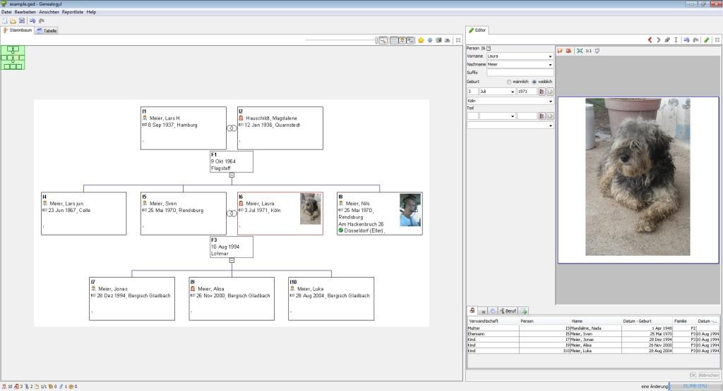 Screenshot 1 - GenealogyJ
