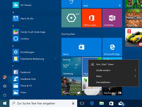 Windows 10: Apps ins Favoriten-Menü schieben ©COMPUTER BILD