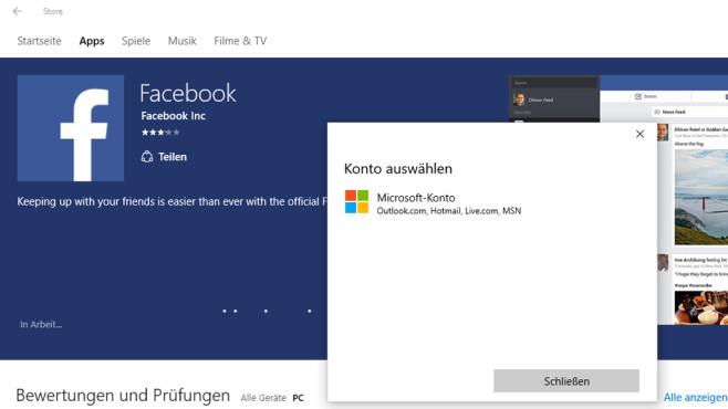 Windows-10: Apps installieren – Konto auswählen ©COMPUTER BILD