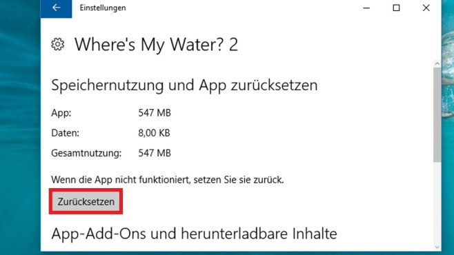Windows 10: Apps zurücksetzen ©COMPUTER BILD