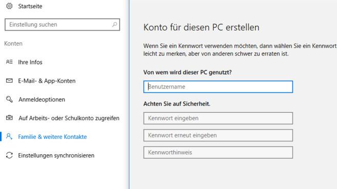 Windows 10: Benutzerkonto hinzufügen ©COMPUTER BILD