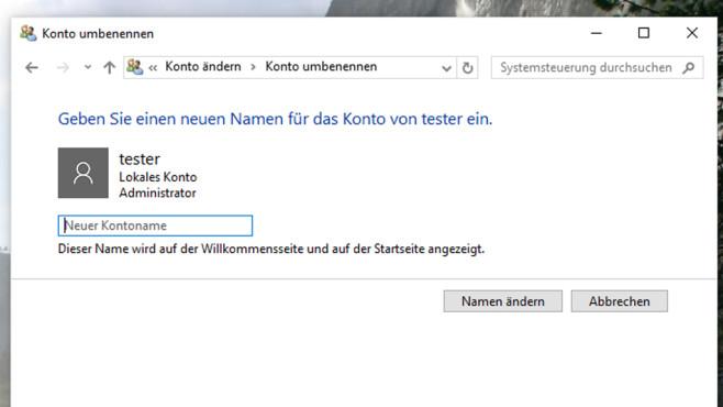 Windows 10: Benutzernamen ändern ©COMPUTER BILD