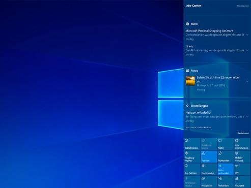 Windows 10: Das Info-Center ©COMPUTER BILD