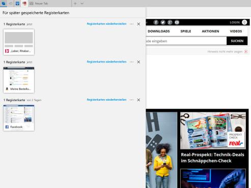 Windows 10: Edge – Für später gespeicherte Registerkarten ©COMPUTER BILD