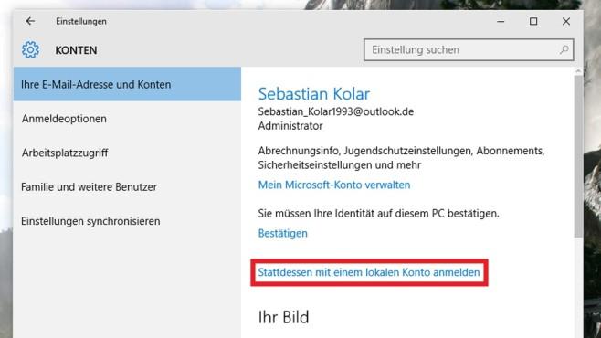 Windows 10: Mit Offline- statt Onlinekonto arbeiten ©COMPUTER BILD