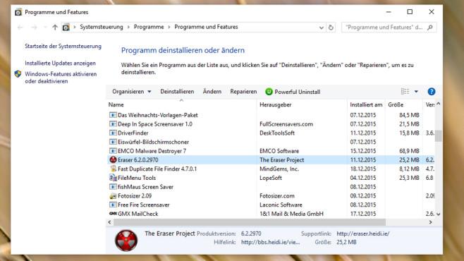 Windows 10: Programm deinstallieren oder ändern ©COMPUTER BILD
