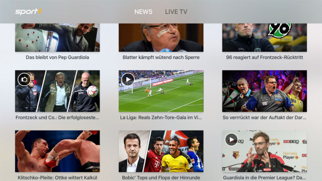 Screenshot Sport1-App für Apple TV © Sport1