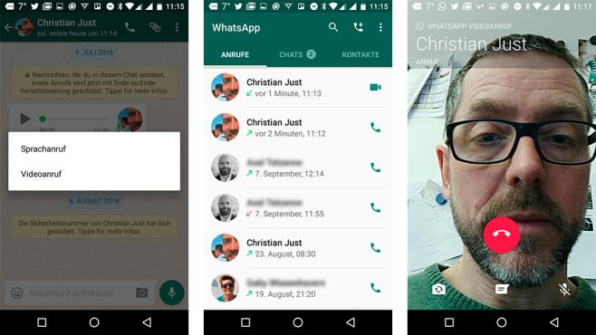 Screenshots von der Videotelefonie auf Whatsapp©COMPUTER BILD