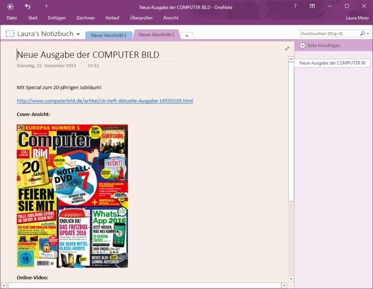 Screenshot 1 - Microsoft OneNote 2016